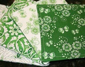 Quilted Cocktail Napkins - Green Work (set of 4)