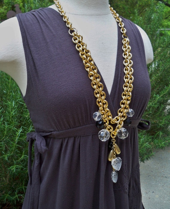 long chunky chain with large vintage acrylic and metal charms