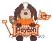 Machine Embroidery Design Applique Football Hound Wagon INSTANT DOWNLOAD