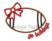 Machine Embroidery Design Applique Football Bow Go Bulldogs INSTANT DOWNLOAD