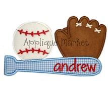 Machine Embroidery Design Applique Baseball Trio INSTANT DOWNLOAD