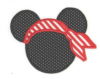 Machine Embroidery Design Pirate Mouse Ears Applique INSTANT DOWNLOAD