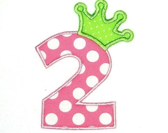 Machine Embroidery Design Applique Numbers with Crown 4x4 and 5x7 INSTANT DOWNLOAD