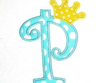 Machine Embroidery Design Applique Alphabet Curlz with Crown INSTANT DOWNLOAD