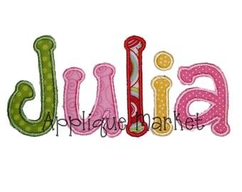 Machine Embroidery Design Julia Applique Alphabet INSTANT DOWNLOAD
