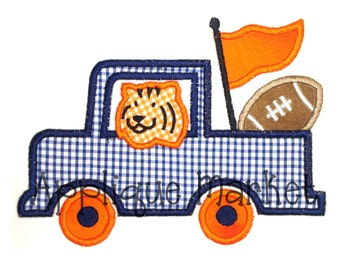 Machine Embroidery Design Applique Truck with Tiger INSTANT DOWNLOAD