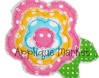 Machine Embroidery Design Applique Frayed Raggy Flower 6 Sizes INSTANT DOWNLOAD