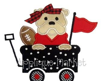 Machine Embroidery Design Applique Bulldog Wagon INSTANT DOWNLOAD