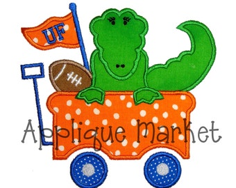 Machine Embroidery Design Applique Gator Wagon INSTANT DOWNLOAD