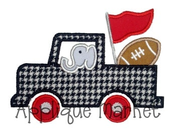 Machine Embroidery Design Applique Truck with Elephant INSTANT DOWNLOAD
