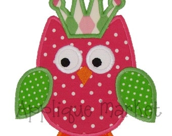 Machine Embroidery Design Applique Princess Owl 4 Sizes INSTANT DOWNLOAD