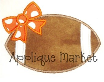 Machine Embroidery Design Applique Football Bow INSTANT DOWNLOAD