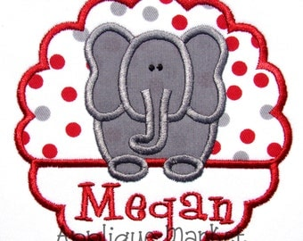 Machine Embroidery Design Applique Elephant Scallop INSTANT DOWNLOAD