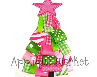 Machine Embroidery Design Applique Ribbon Christmas Tree INSTANT DOWNLOAD