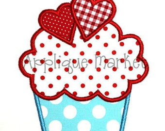 Machine Embroidery Design Applique Cupcake with Hearts INSTANT DOWNLOAD