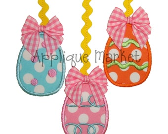 Machine Embroidery Design Applique Easter Eggs with Trim INSTANT DOWNLOAD