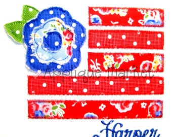 Machine Embroidery Design Applique Flag with Flower INSTANT DOWNLOAD