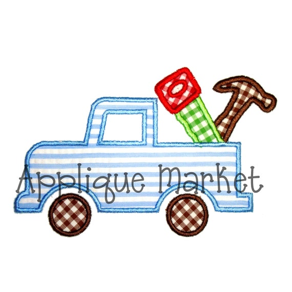 Machine Embroidery Design Applique Truck with Tools INSTANT DOWNLOAD