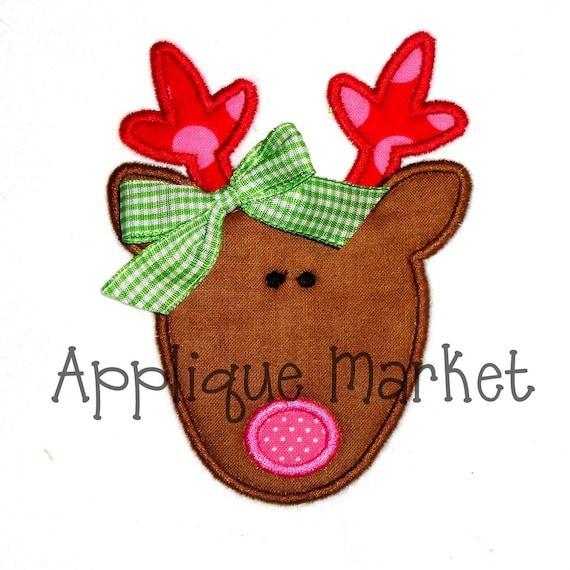 Christmas Reindeer Applique Embroidery Design