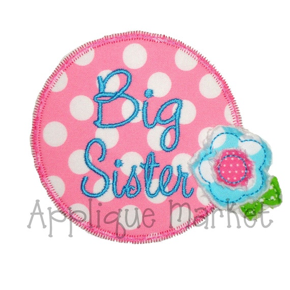 Machine Embroidery Design Applique Big Sister INSTANT DOWNLOAD