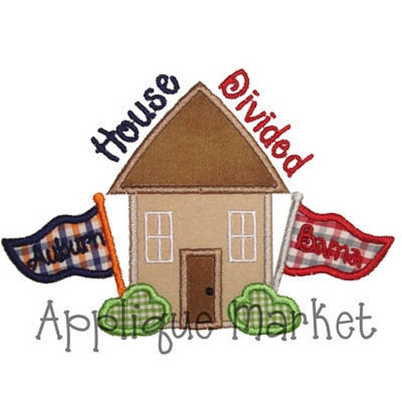 Machine Embroidery Design Applique House Divided Instant