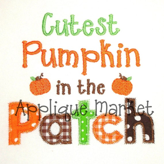 Machine Embroidery Design Applique Cutest Pumpkin INSTANT DOWNLOAD