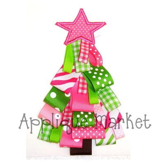 machine embroidery design applique ribbon christmas tree instant download - Christmas Tree Applique