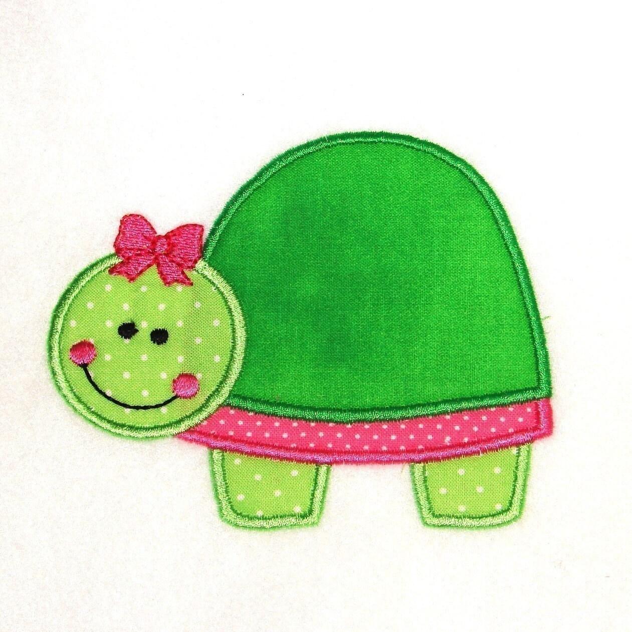Machine embroidery applique design turtle instant download
