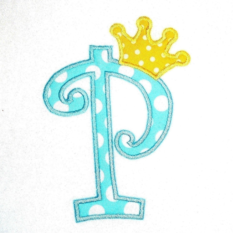 Machine embroidery design applique alphabet curlz with crown for Appliques design