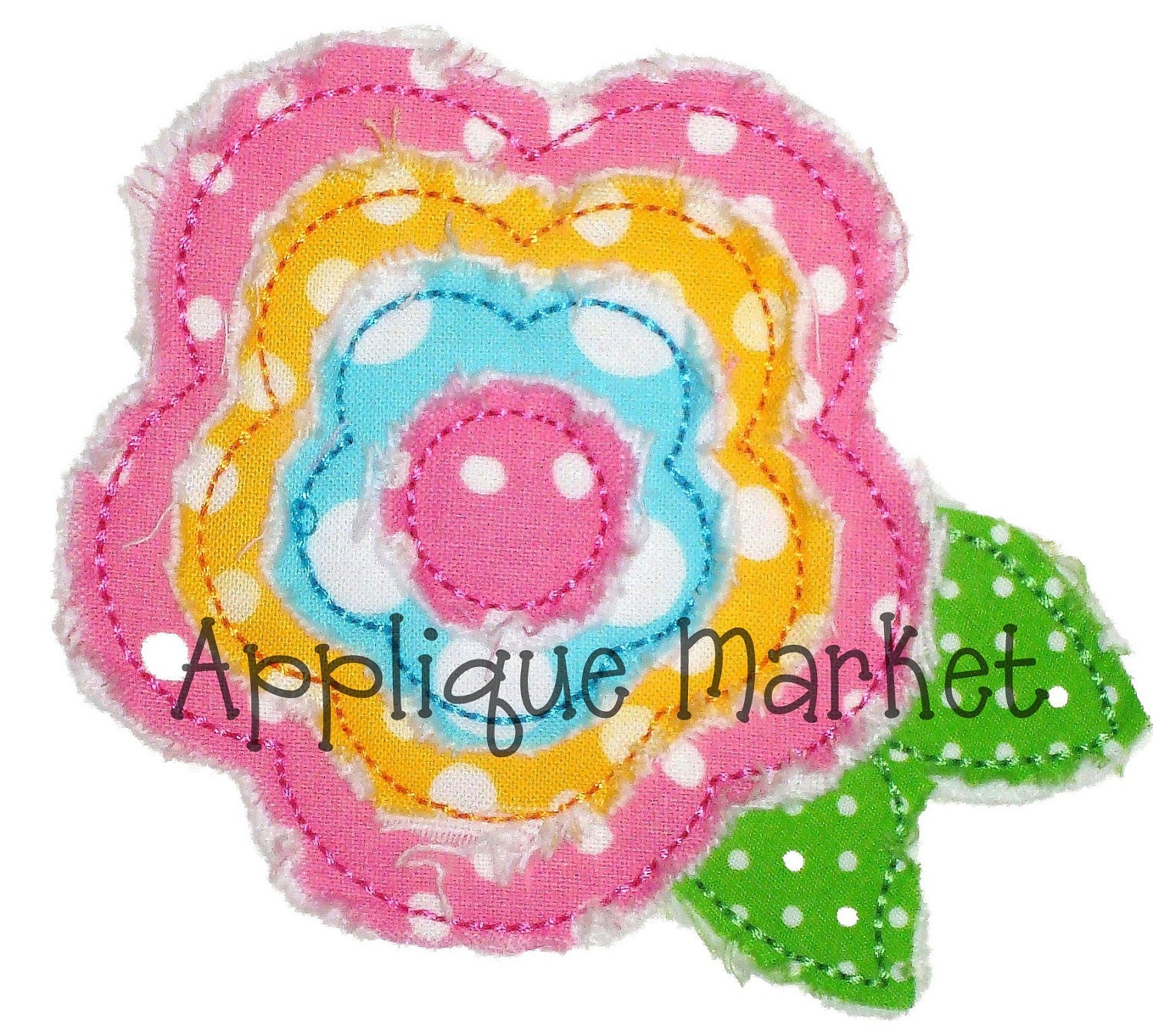 Machine embroidery design applique frayed raggy flower sizes