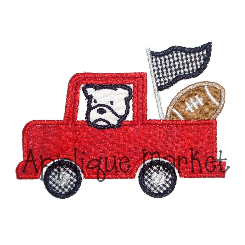 Machine embroidery design applique truck with bulldog insant
