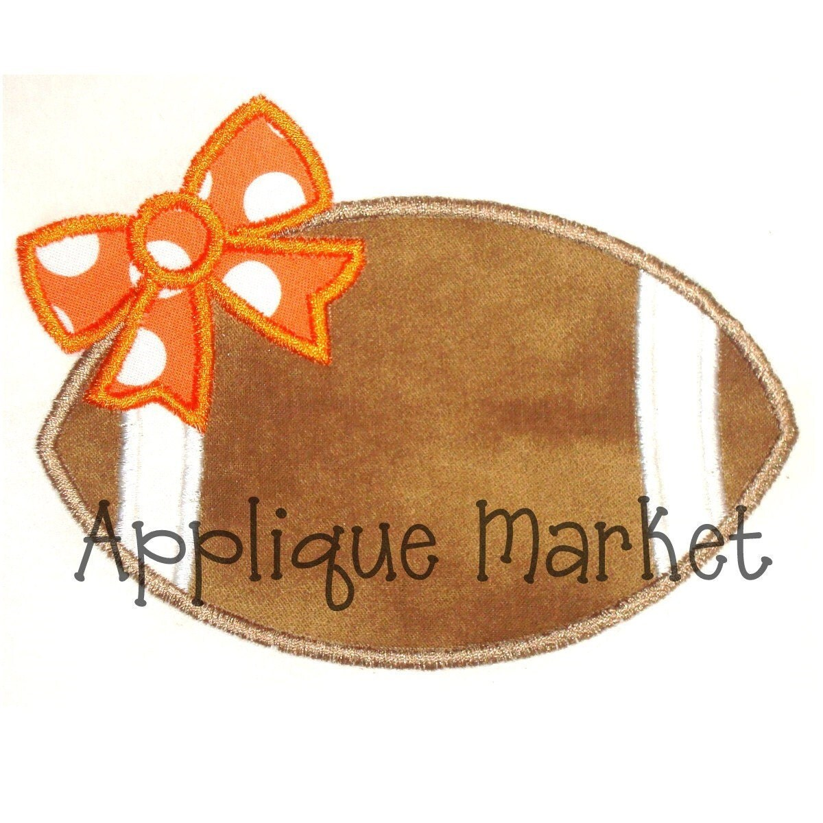 Machine embroidery design applique football bow instant for Appliques design