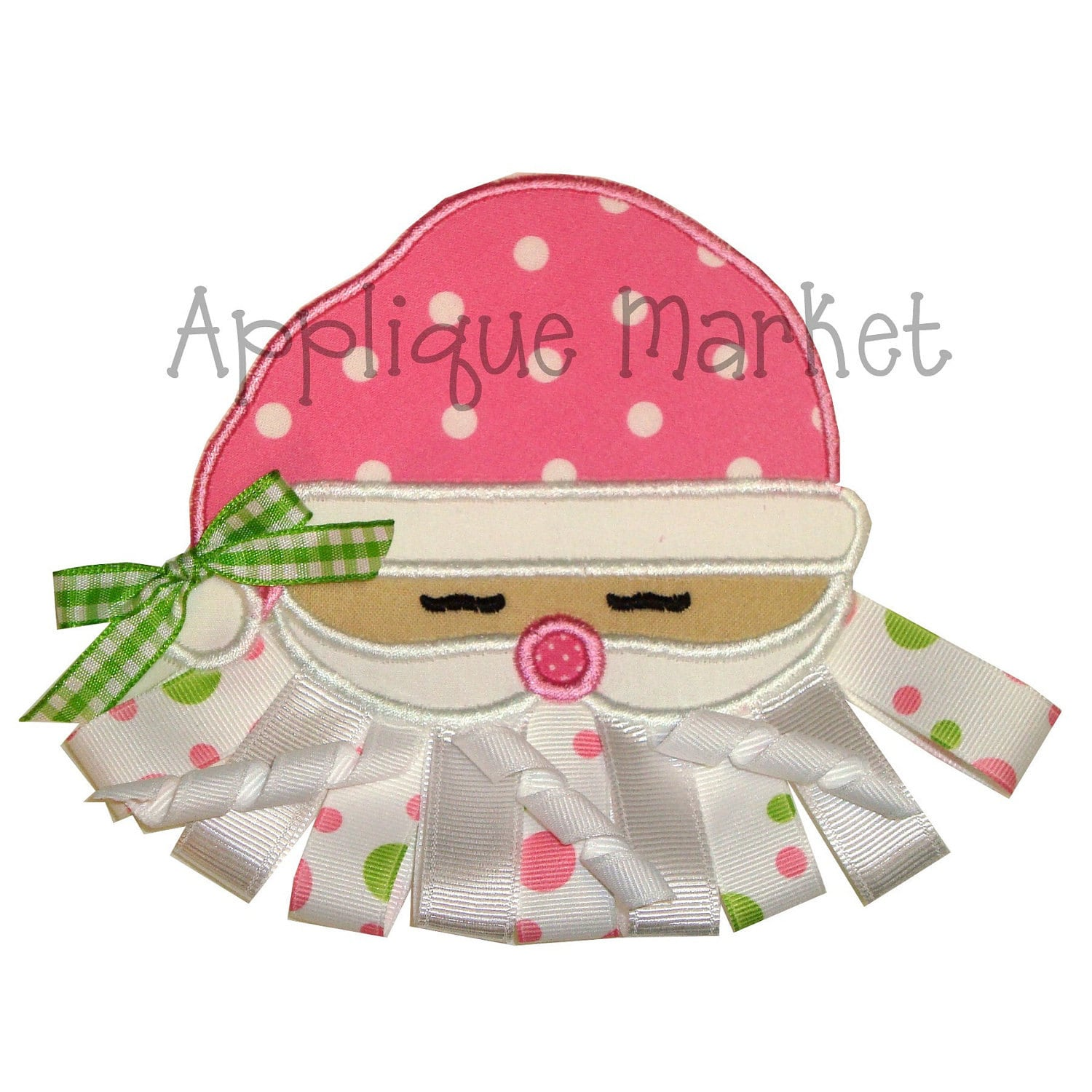 Machine embroidery design applique santa face with optional