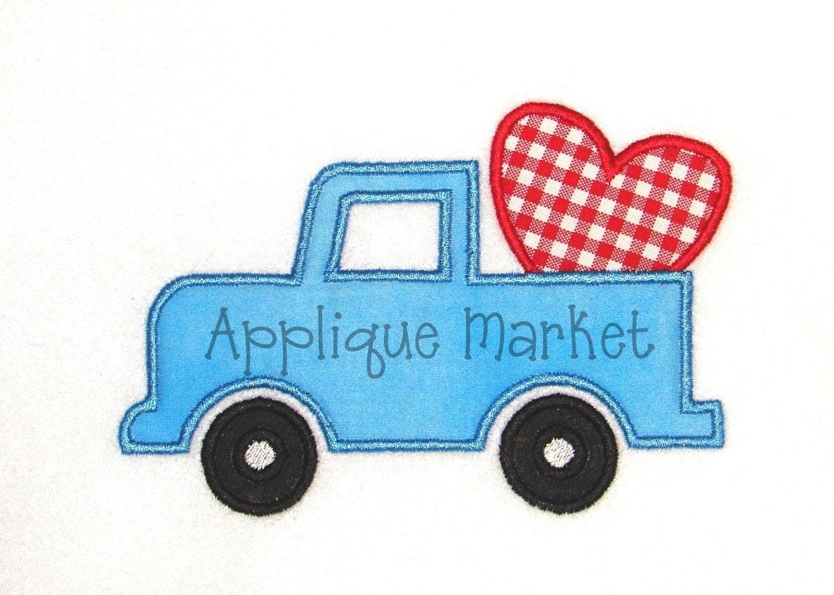Machine embroidery design applique valentine truck by