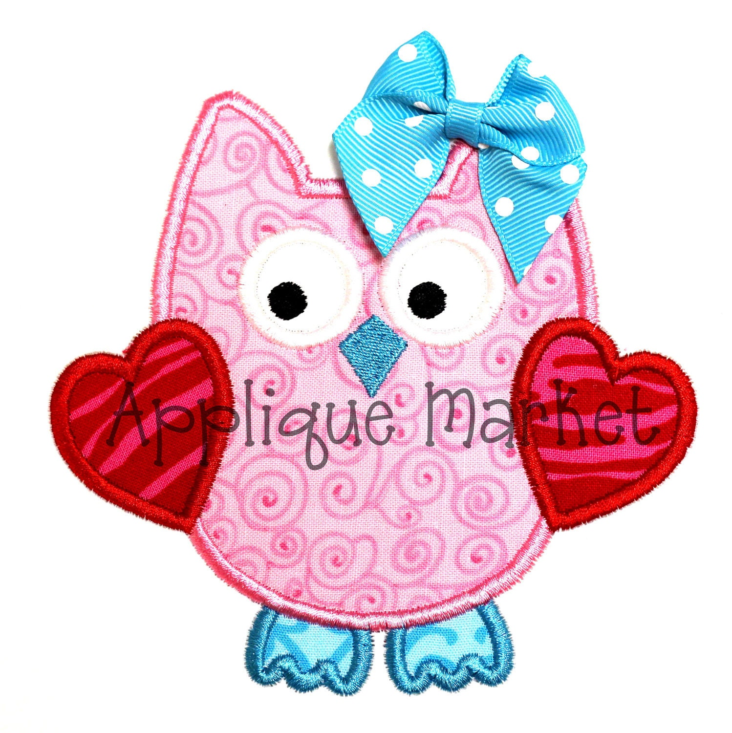 Machine embroidery design applique owl with hearts instant