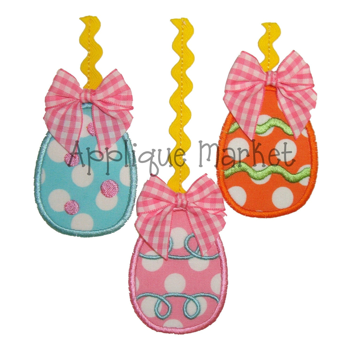 Machine embroidery design applique easter eggs with trim