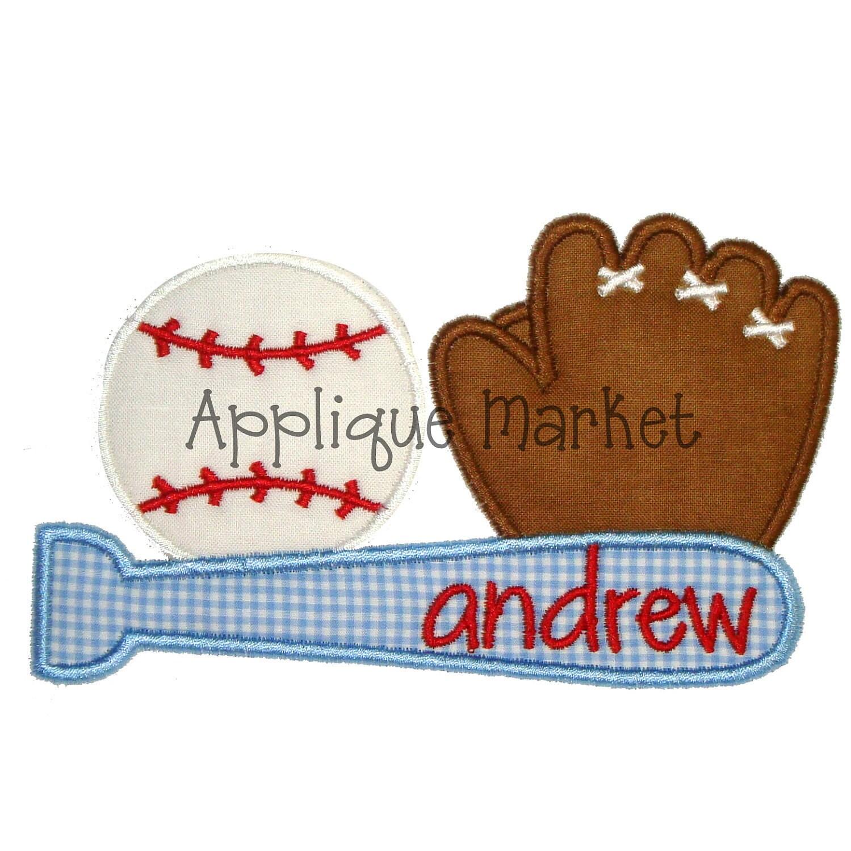 Machine embroidery design applique baseball trio instant for Appliques exterieures design