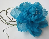 Blue Hibiscus Hair Clip - Silk Flowers - For Sam