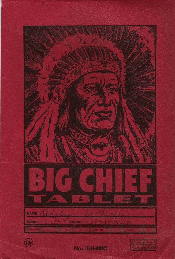 Big Chief Tablet Cover Only, Early 1950s, Antique, Vintage, Red and Black, Collectible, Wall Art, Altered Art, Mixed Media, Paper Ephemera