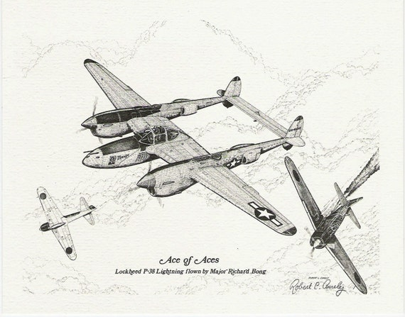ON SALE 2 Vintage Military Aviation Prints by Robert L. Conely, 1979, Signed, Excellent Condition, Ready to Frame, Wall Art, Military Art, Aviation Art, 2 Pencil Sketch Prints, World War II, Airplanes