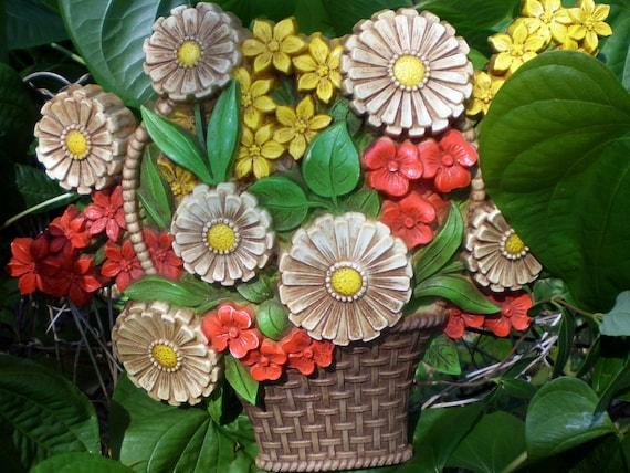 Flower Baskets Usa : S home decor wall art homco flower basket syroco plastic