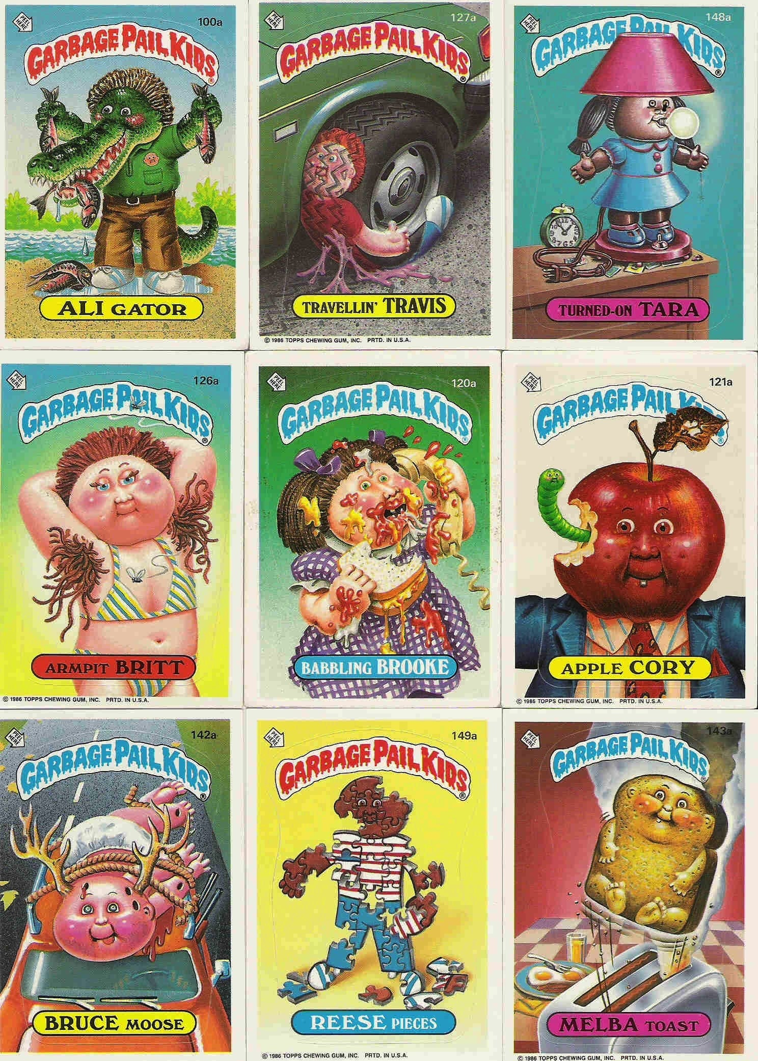 9 Garbage Pail Kids Cards Stickers 1986 Topps Chewing Gum
