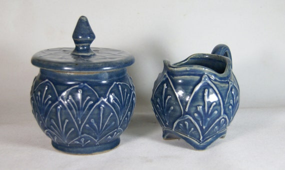 Sugar and Creamer Set Blue Elaborate Deisgn Handmade Pottery