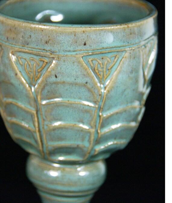 Green Goblet Celtic  Knot Handmade Pottery - Sale