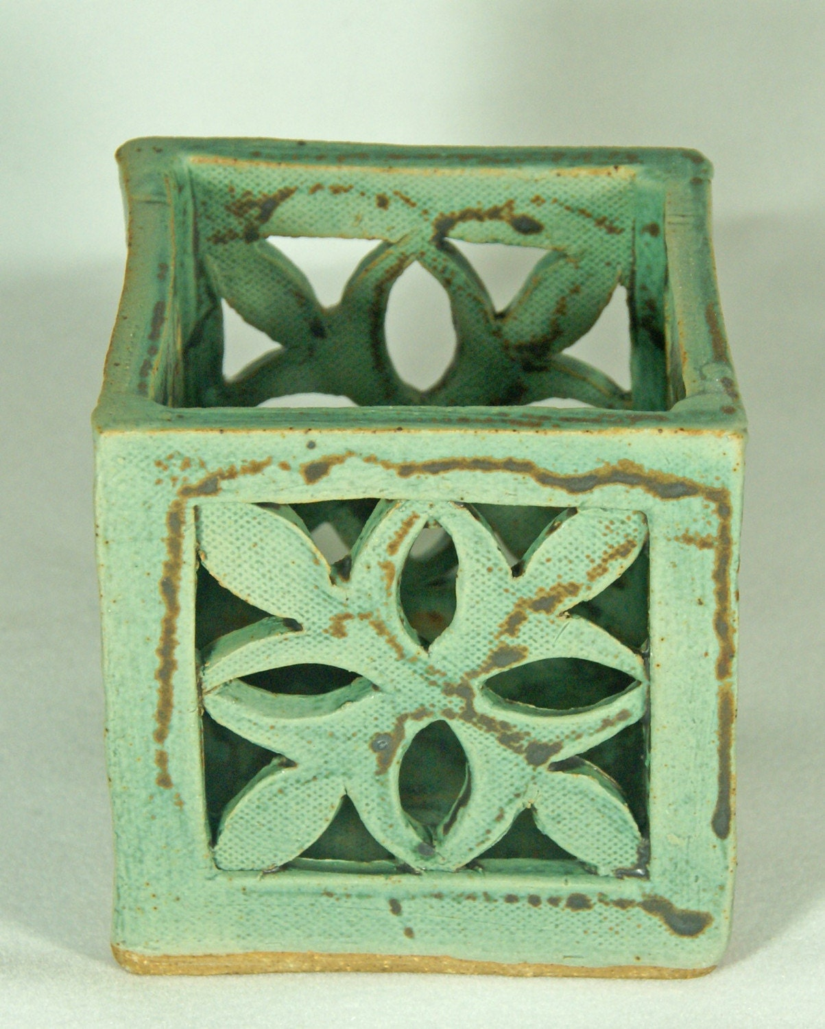 Green Gothic Candle Holder Handmade Pottery