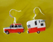 Retro Red Car and Camper Trailer Earrings