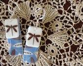 Brown Dragonfly Earrings with Blue/Brown/White Background
