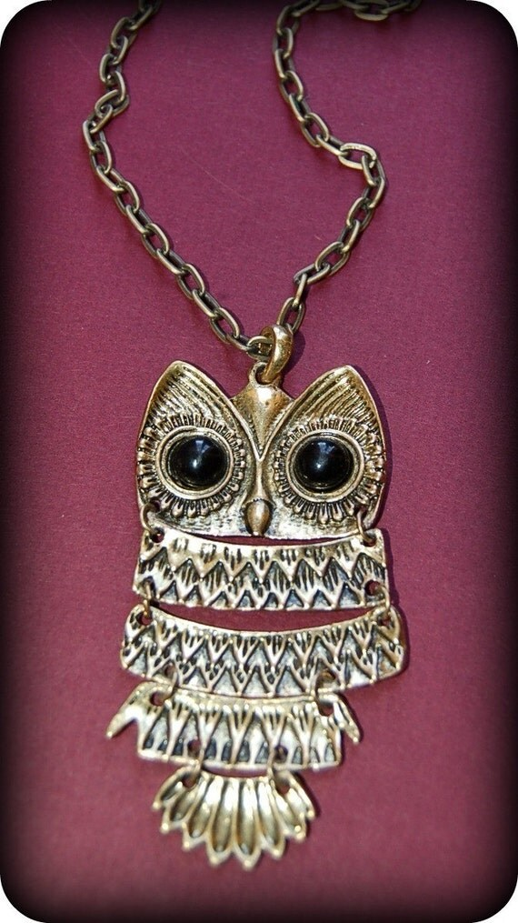 Large Brass Owl necklace