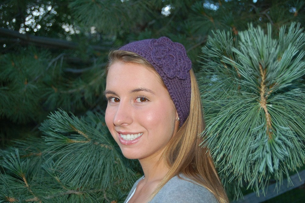 knitted headband pattern with flower