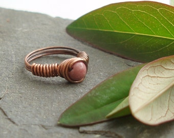 Vortex Wrapped ring - Rhodonite - 25% discount